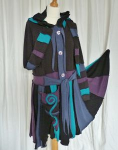 upcycled coats | Upcycled Sweater Coat in Black, Teal and Purple with Hood, Waist Ties ...