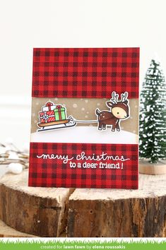 With the Lawn Fawn Lawn Cuts Collection Toboggan Together Dies, you'll be able to create beautiful, one-of-a-kind Christmas paper crafts that will bring holiday Christmas Paper Crafts, Christmas Cards To Make, Christmas Deer, Xmas Cards, Handmade Christmas, Holiday Cards, Merry Christmas, Winter Christmas, Christmas Ornaments