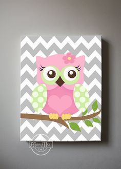 Girls wall art  OWL canvas art Baby Nursery Art  Owl by MuralMAX
