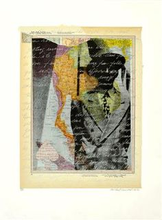 """Mildred Howard, """"Island People on Blue Mountain XVI"""", 2012, color monoprint  with collage"""