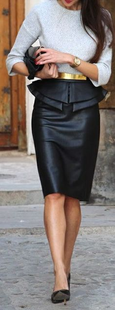 Leather peplum pencil skirt, red lipstick <3