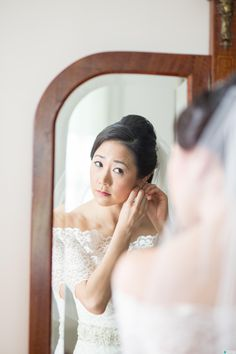 Softly defined eyes and lips.  The demure look for an early spring bride's outdoor wedding. Makeup by Barbara / hairstyle by Ky.
