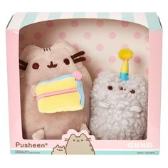 "Pusheen & Stormy Birthday Plush Collectors Set | The well known toy makers at Gund® have come up with a collectable series of box sets showing Pusheen and his little sister Stormy in various fun Pusheen like activities! This little box set contains 2 little plush toys up to 6"" high. Pusheen holds a deliciously looking slice of cake while Stormy couldn't be cuter in her little pom pom birthday hat!"