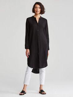 Eileen Fisher Organic Cotton Mandarin Collar Long Sleeve Tunic Shirt Dress - Bla for sale online Fall Fashion Outfits, Mode Outfits, Autumn Fashion, Casual Outfits, Womens Fashion, Fashion Trends, Dress Over Pants, Dress Skirt, Collared Shirt Dress