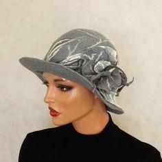 Grey gray hat felted Hat Cloche felt Hat with brooch ♥ by ZiemskaArt, $112.00