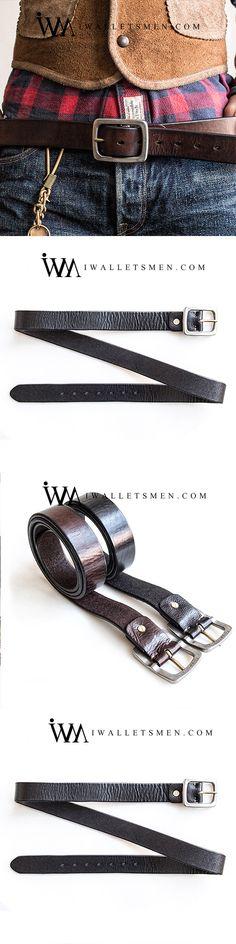 "Handmade Buffalo Leather Belt/_Brass Roller Buckle/_1.25/"" /& 1.5/""/_Brown"