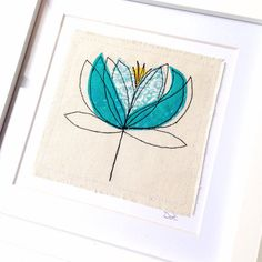 Water Lily framed wall art picture gift, personalised stitched fabric applique embroidery. Birthday. Botanical, flower textile art.