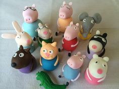 Peppa Pig characters made out of fondant. Party guests could make as a party activity.
