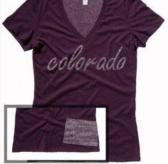Colorado Dark Purple Heather Home State T Shirt V-Neck.  http://washedtee.com/shop/womens/t-shirts-tanks/triblend-deep-v-neck/