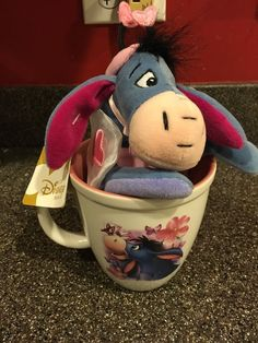 Disney Store Eeyore Flower Pink & White Mug + Love Bug Beanie  EASTER GIFT IDEA #Disney