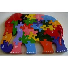 Wooden Elephant Alphabetic ABC Childrens Jigsaw Puzzle ....Wooden toys for ur kids ,,, Ethical Toys