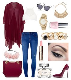 """""""Untitled #313"""" by angelicaaans ❤ liked on Polyvore featuring GUESS, Casadei, Manon Baptiste, River Island, Dorothy Perkins, Chico's, DKNY, OPI, Mehron and Gucci"""