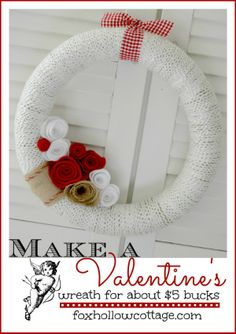 Burlap, Felt and Yarn Valentine's Day Wreath | Under $5 #diycraft #decoratingidea #valentinesday