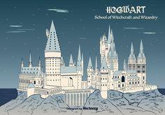 Vector background of Hogwarts castle.