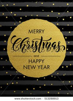 Merry Christmas, Happy New Year gold glitter foil gilding greeting card. Vector snowflakes, black stripes, golden glittering circle ball ornament. Gilt calligraphy lettering modern trend background