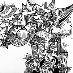 Starry Starry Night Original Abstract Doodle Artwork by rachelksy, $50.00