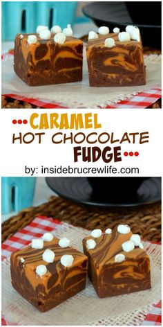 Hot chocolate fudge swirled with caramel fudge and topped with mini marshmallows