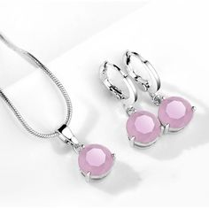 Round Necklace and Earrings Jewelry Sets for Women