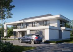 House in modern style with usable area Modern Exterior House Designs, Modern House Design, Contemporary House Plans, Modern Contemporary, 5 Bedroom House Plans, Model House Plan, My Dream Home, Bauhaus, Home Projects
