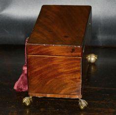 Antique English Georgian period Mahogany Tea Caddy Box C.1785   Etsy Antique Items, Vintage Items, Tiny Shop, Tea Caddy, Jewelry Case, Green Velvet, Hope Chest, Georgian, Vintage Antiques