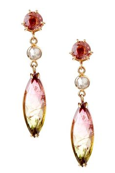 Mixed Tourmaline + Natural Rose Cut Diamond Earrings
