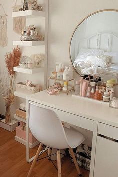 Seeking ideas for the makeup vanity organization? We have plenty of them!, Seeking ideas for the makeup vanity organization? We have plenty of them! No matter whether it is small with a rustic and vintage finish or huge with . Room Design Bedroom, Room Ideas Bedroom, Small Room Bedroom, Bedroom Decor, Tiny Bedrooms, Bedroom Ideas For Small Rooms, Ikea Room Ideas, Light Pink Bedrooms, Study Room Decor