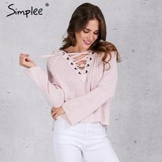 Simplee Flare sleeve knitted sweater