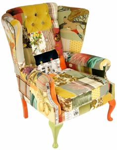 BURTON AND TAYLOR - PAIR OF BESPOKE PATCHWORK WINGBACK CHAIRS