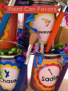 Pinkie and The Bean: DIY Art Party Paint Can Favors