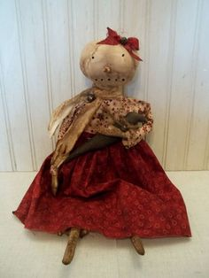 Primitive Grungy Snow Lady Snowman Christmas Doll & Her Kitty Cat #Primitivedoll eBay ID: 3valentinos