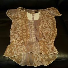 Brown top Brown top with floral design, see through, lastic at waist. Great condition. Fire Los Angeles Tops Blouses