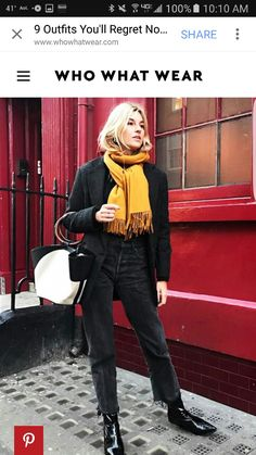 Way to add a pop of color to all black outfit! Mustard scarf.