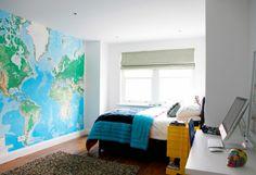 Farbgestaltung fürs Jugendzimmer – 100 Deko- und Einrichtungsideen - große weltkarte farbgestaltung fürs jugendzimmer wandgestaltung