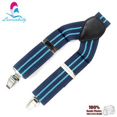 Fashion Blue elastic tape wedding striped suspenders for man,3clips & 110cm length with 3.5cm width male braces