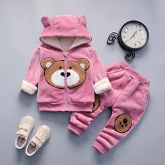 Baby Girl Teddy Bear Clothing Set [3M-4T] 34.99 CAD Winter Newborn, Girl Sweat, Cartoon Outfits, Kids Suits, Baby Warmer, Boys Hoodies, Baby Sweaters, Baby Boy Outfits, Toddler Outfits