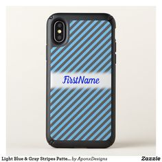 Light Blue & Gray Stripes Pattern + Custom Name Cool Phone Cases, Iphone Case Covers, Gray Stripes, Blue Grey, Light Blue, Cool Stuff, Pattern, Color, Cool Things