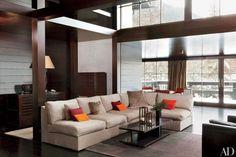 Living room , nice colors marron, cream and gray.