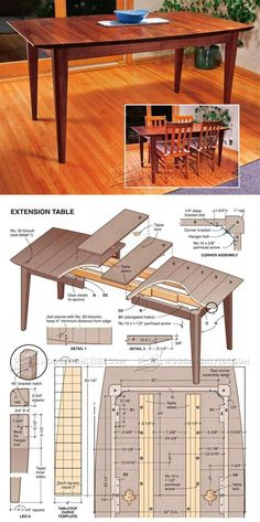 Extension Dining Table Plans - Furniture Plans and Projects - Woodwork, Woodworking, Woodworking Tips, Woodworking Techniques Woodworking Furniture Plans, Woodworking Basics, Woodworking Projects Diy, Diy Furniture, Coffee Table Plans, Extension Dining Table, Easy Wood Projects, Wood Plans, Diy Table