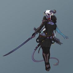 Female Tiefling Blue Skin Dark Hair Horns Rogue Swashbuckler