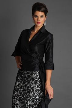 The Living Silk Classic Wrap Shirt is is the epitome of elegance, designed with sleeves and a collar for day to evening and special occasion wear. The Classic Wrap Shirt can be worn with Living Silk's skirts or with your skirt/ pant Mother Of Bride Outfits, Mother Of Groom Dresses, Mothers Dresses, Mother Of The Bride, Mob Dresses, Fashion Dresses, Formal Dresses, Party Dresses, The Dress