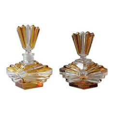 Antique French Art Deco Crystal Perfume Bottle and Powder Box Vanity Set - 2 Pc. - Image 1 of 7