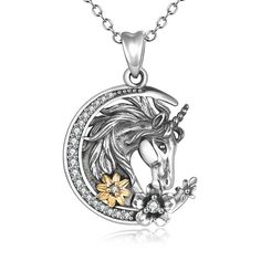 925 Sterling Silver Unicorn Crescent Necklace, Christmas Gift For Her, Daughter – Only One Crescent Necklace, Delicate Jewelry, Message Card, Christmas Gifts For Her, Fantasy Jewelry, Pocket Watch, Fun Crafts, Unicorn, Pendant Necklace