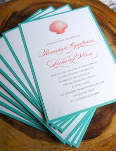 Coral and Teal invites