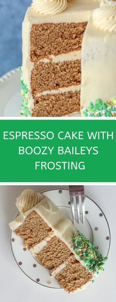 This is a boozy St. Patrick's Day recipe for the adults! Espresso cake, topped with delicious Baileys frosting. A fun St. Patrick's Day dessert idea for a party, or a crowd! This Baileys cake recipe is easy, delicious and a fun way to do some St. Cupcake Recipes, Baking Recipes, Cupcake Cakes, Dessert Recipes, Cupcakes, Dessert Party, 100 Calories, Köstliche Desserts, Delicious Desserts