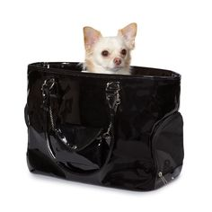 Black Patent Pet Carrier by ohmydogsupplies.com