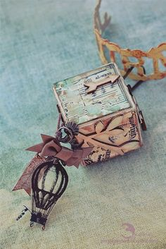"""scrappylicious : """"You and Me"""" Artist Trading Block charm"""