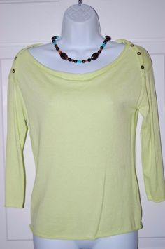 Worthington Shirt Petite M Sweater Sunny Lime Top NWT #Worthington #KnitTop