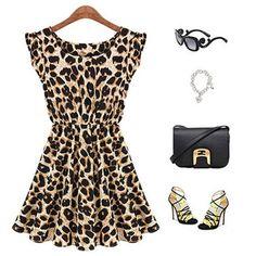 2017 Leopard Grain Summer Sleeveless Elastic Waist Princess Dress