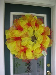 Yellow and Red Mesh Ribbon Wreath