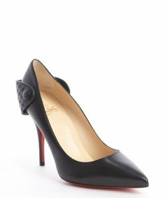 style #333189601 black leather 'Huguetta Pump 100' quilted detail pointed toe pumps